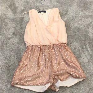 Light pink romper with sequin shorts